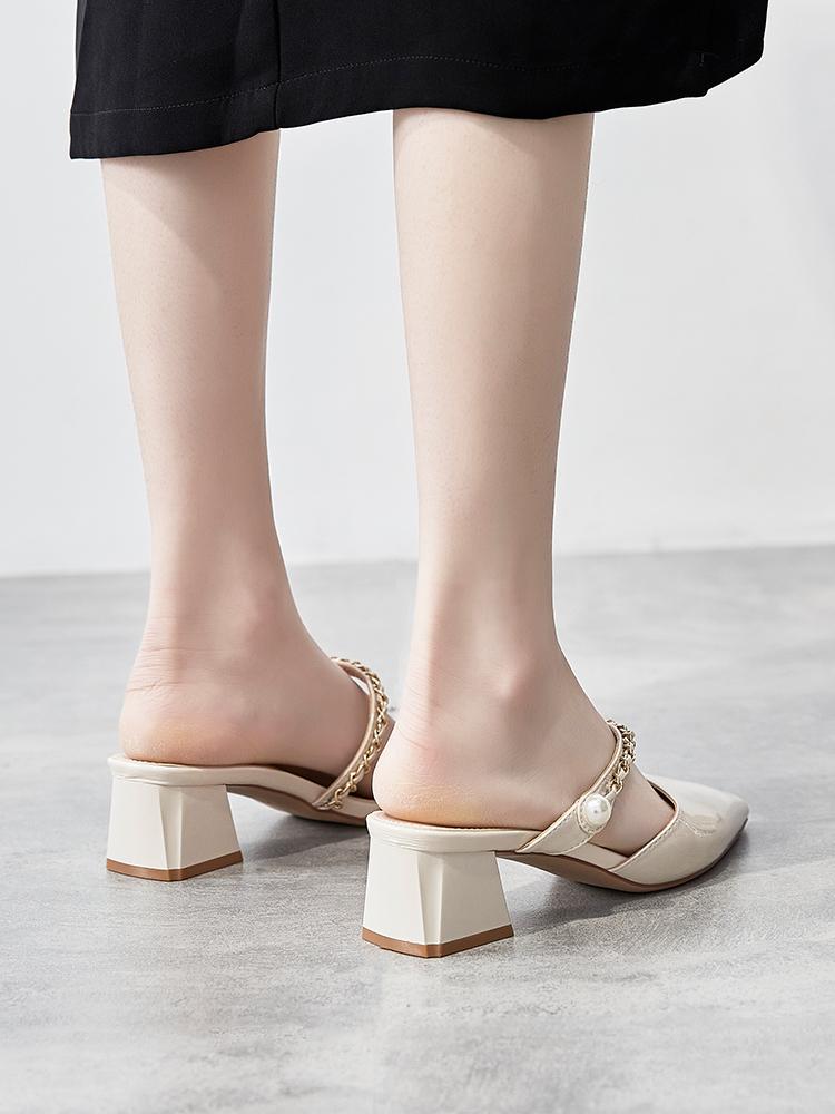 。尖头半拖鞋外穿2021年新款夏季女士凉拖时尚百搭网红粗跟高跟女