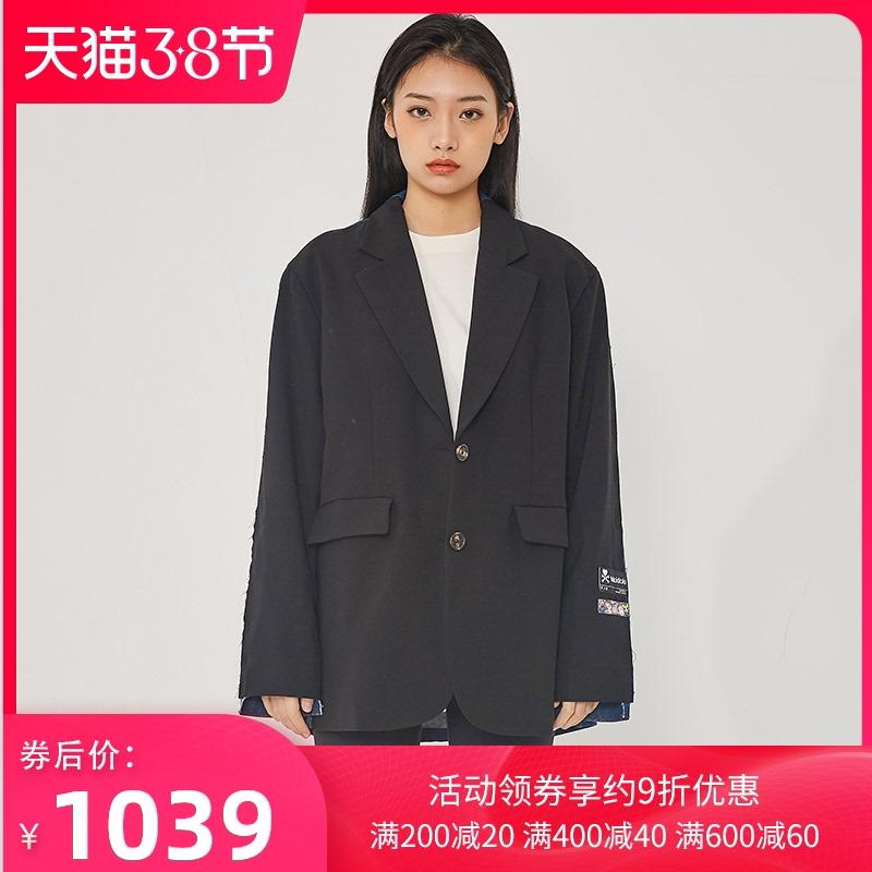 tokidoki衣服时尚设计师正反两色青年街头牛仔女宽松拼接西服白领