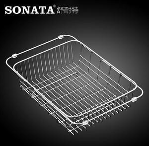 不绣钢厨房沥水蓝伸缩池水槽沥水架洗菜盆沥水篮304不锈钢洗碗洗