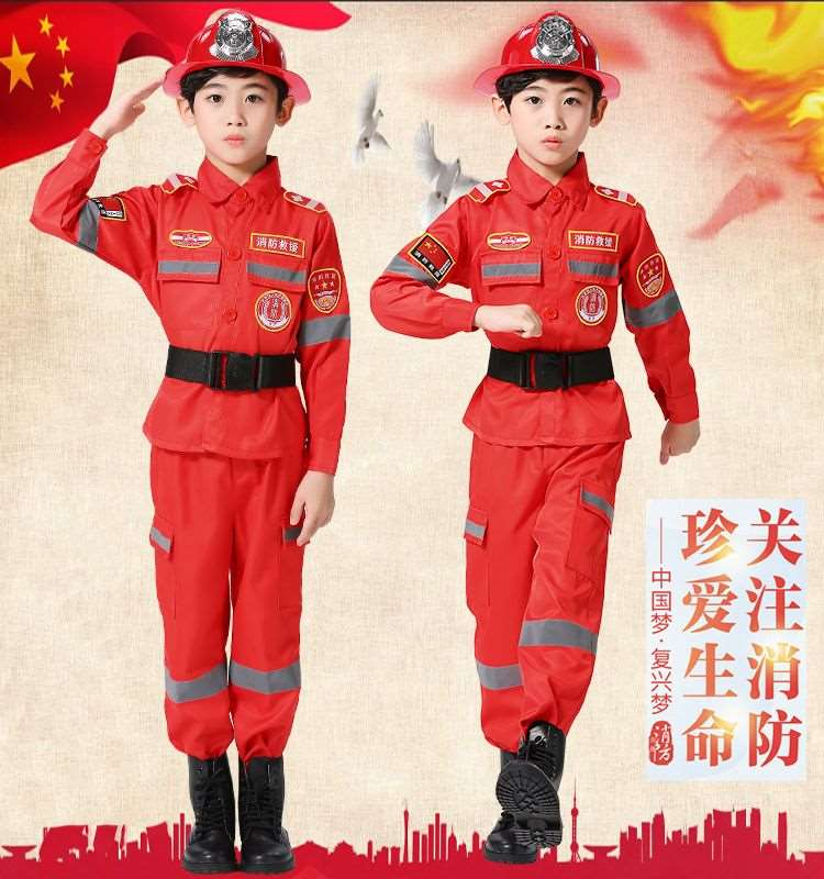 Childrens Fireman costume performance clothing childrens professional experience role play fireman performance clothing little fireman