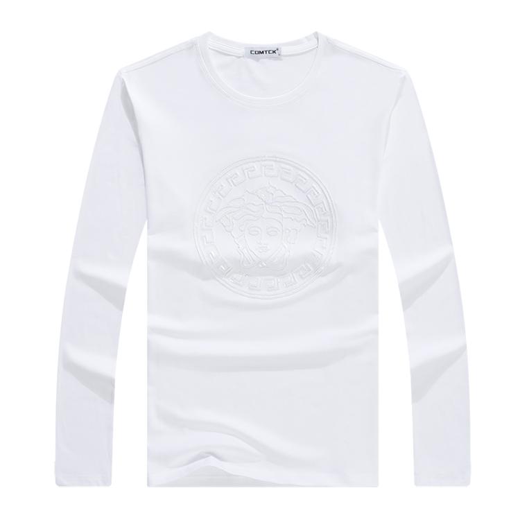 美杜莎刺绣图案秋新款时尚欧货潮流男士长袖t恤修身莱卡打底衫318