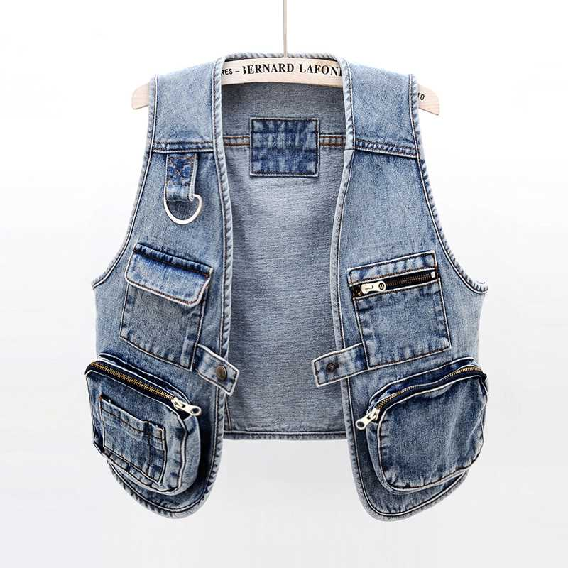 Spring and summer Korean versatile fashion Multi Pocket Jeans vest womens short Vest Jacket jacket