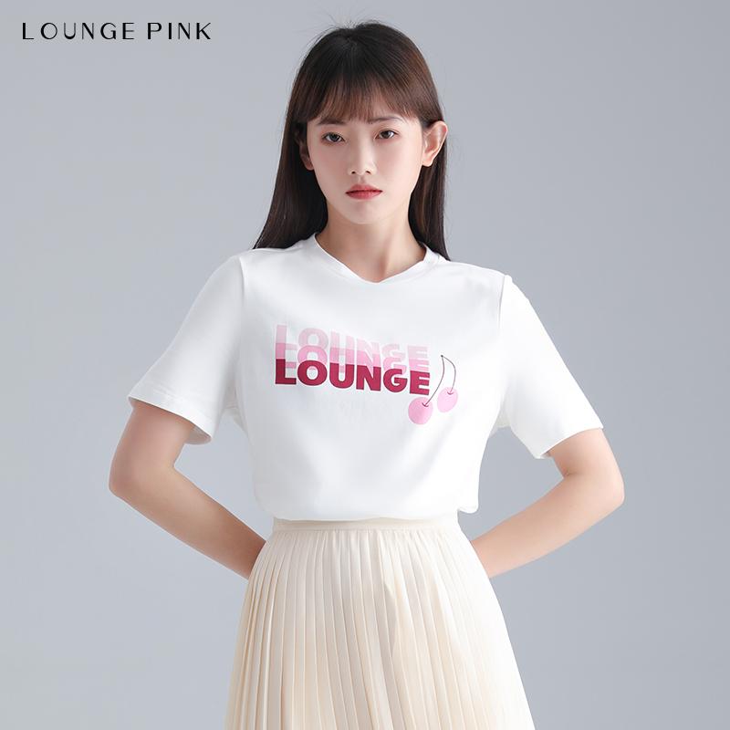 Lounge Pink/诺品衣坊春季棉质字母印花圆领易搭配短袖T恤上衣