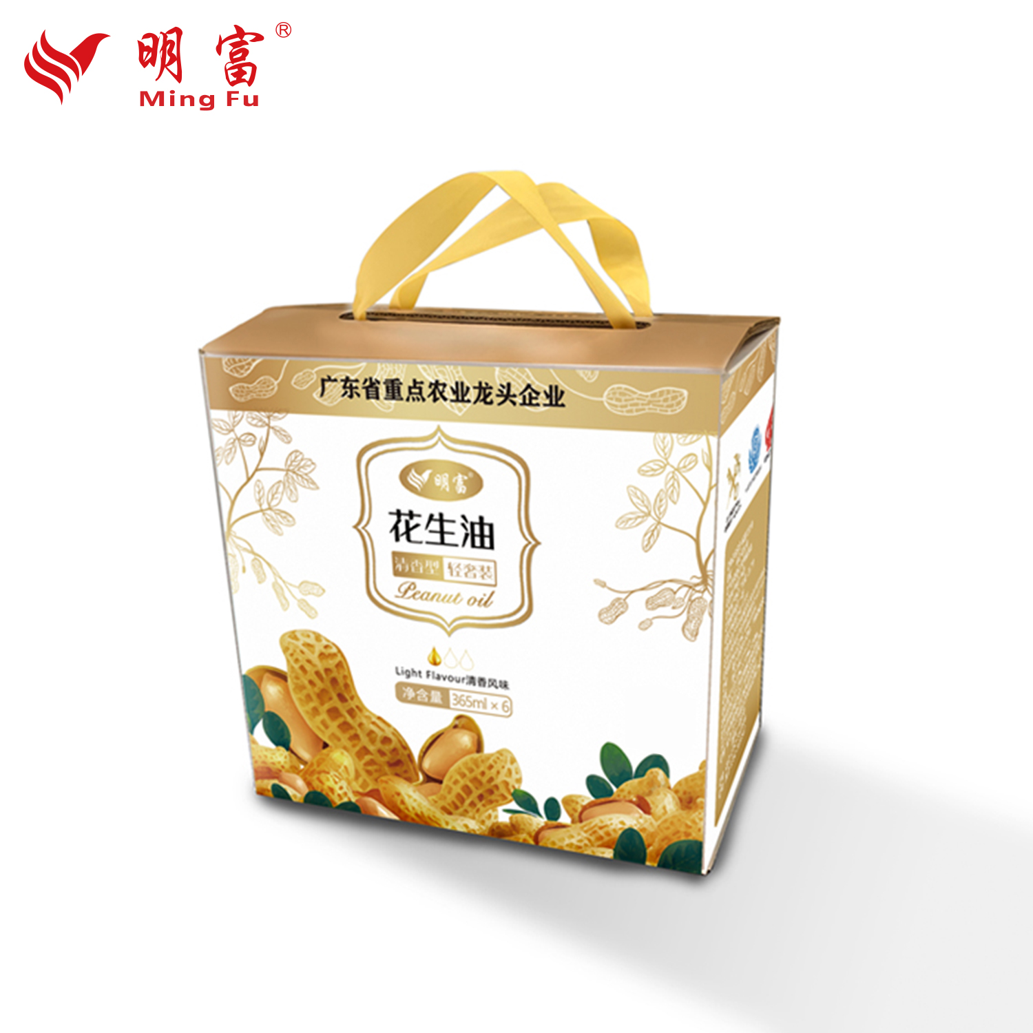 Mingfu Luzhou flavor pure peanut oil 365ml * 6 bottled household cooking oil group purchase gift box