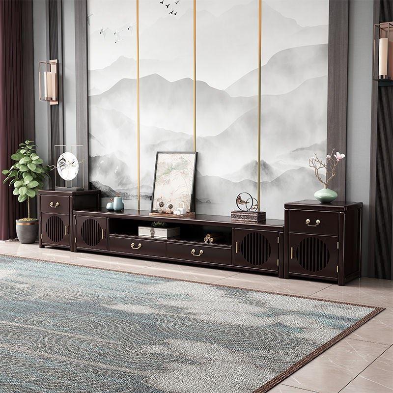 新中式实木电视柜茶几组合套装禅意家用地柜影视柜中国风客厅家具