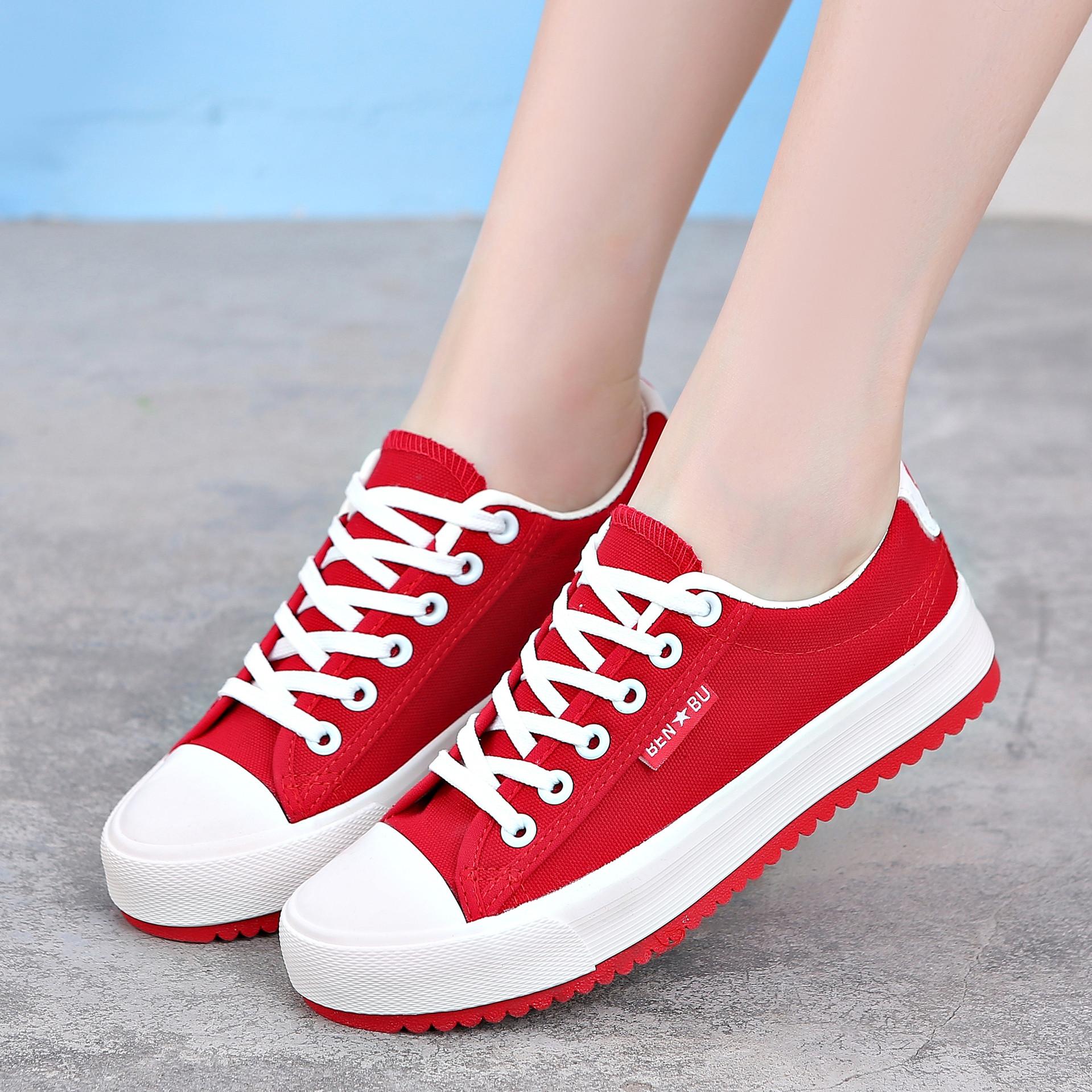 New Korean version new pure color leisure low top canvas womens shoes light flat floor shoes tide 8899