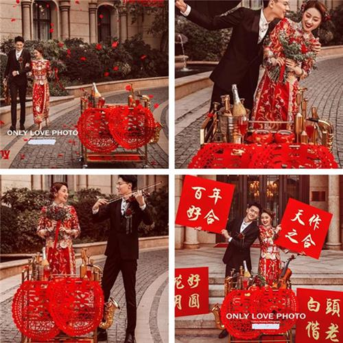 Wedding photo creative photo gift photography props ancient Chinese style wedding building give cover Hydrangea marry red I like your board