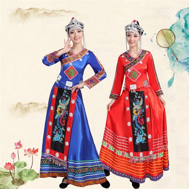 新新款畲族舞台服装演出服成人冬装长款新民族服装全新包邮舞台服