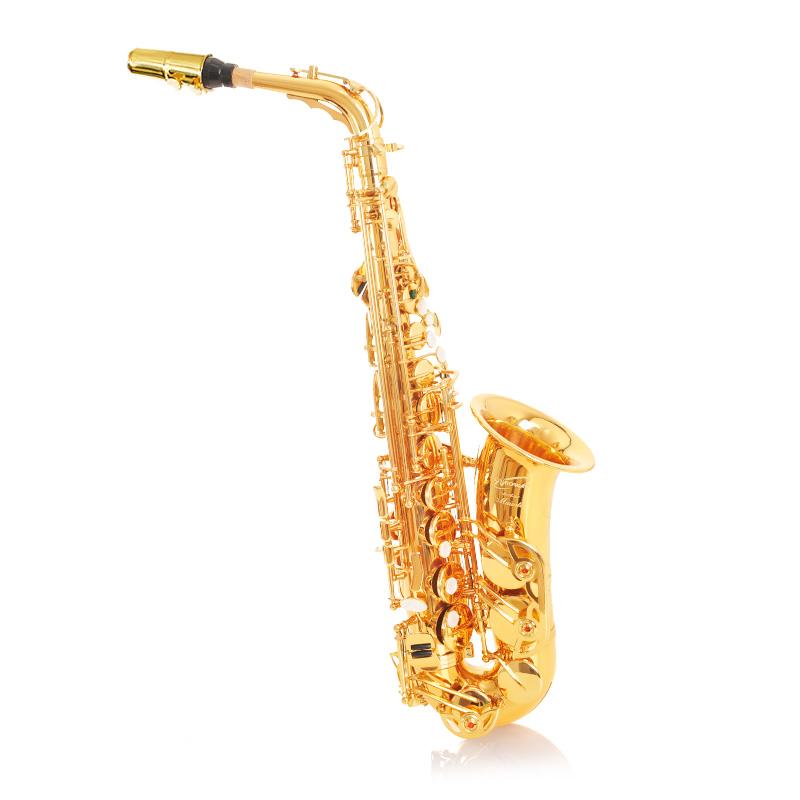 正品萨克斯恩博威金色中音萨克斯双筋加固学生成人考级演奏乐队用
