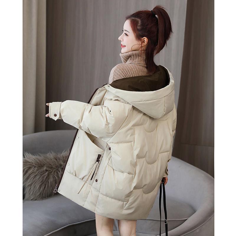 女士冬季羽绒棉服女中长款2021年新款韩版宽松时尚大码加厚棉衣