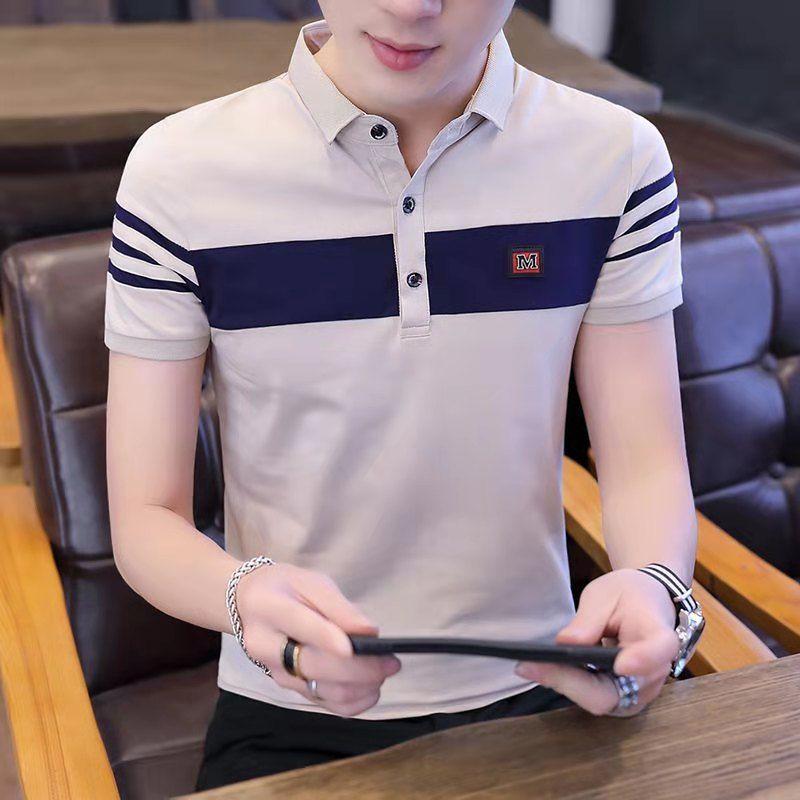 95棉】夏季男士短袖t恤韩版修身潮流Polo衫半袖翻领青年男装上衣