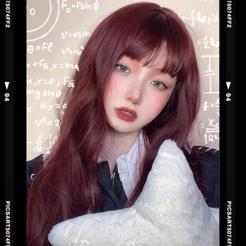 正品玫瑰红色假发长发女团媚拉海王红紫长卷发大波浪jk洛丽塔cos