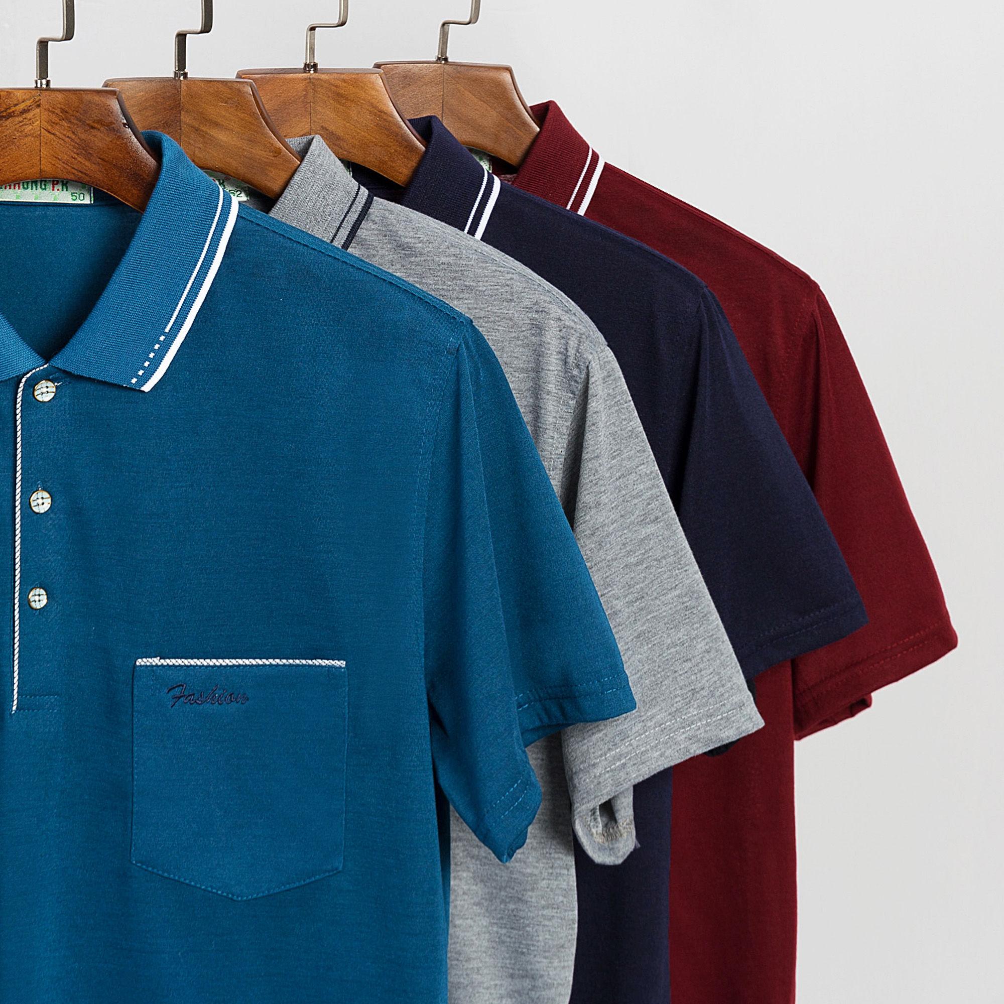 夏季爸爸装新款T恤短袖中年男士休闲冰丝薄款商务大码翻领POLO衫