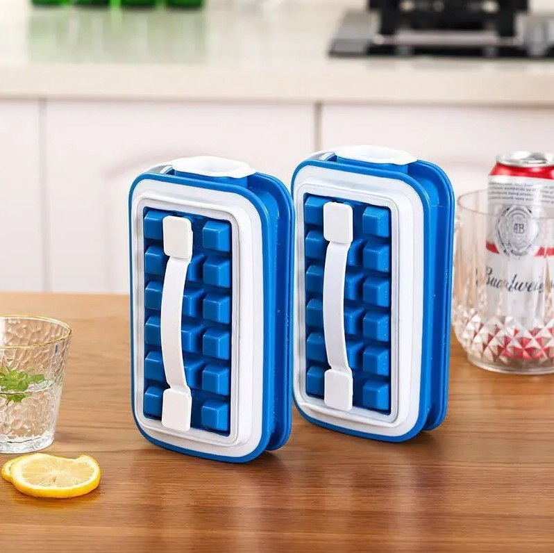 网红折叠冰格食品级硅胶制冰粒盒带盖冰块的模具酒饮速冻冰块神器