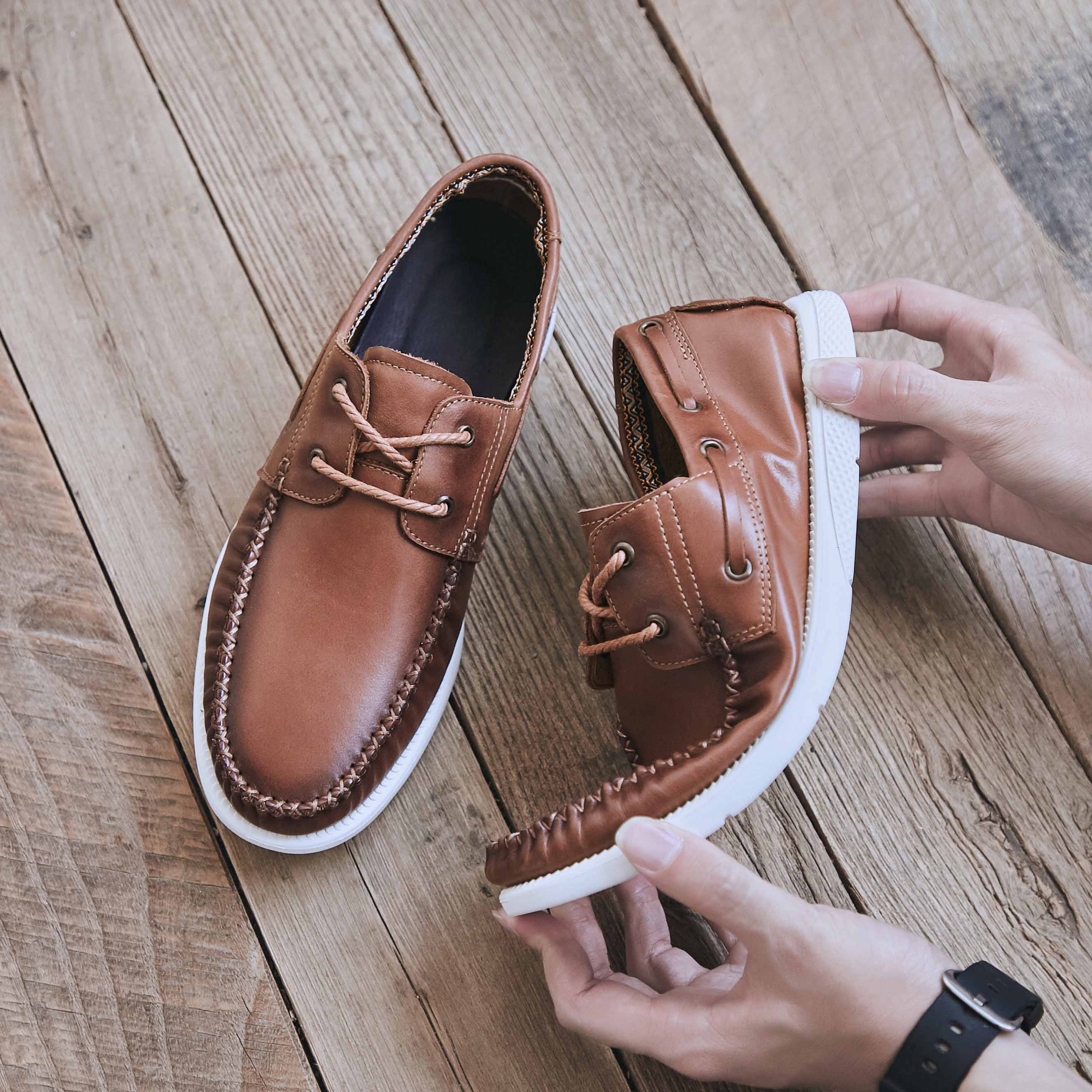 Genuine lux spring casual shoes mens fashion boat top leather soft sole versatile breathable beans