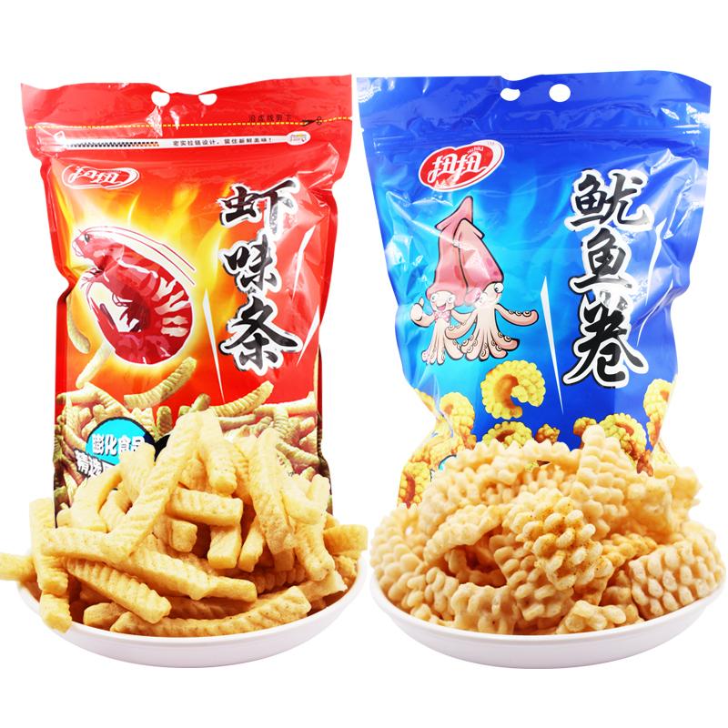扭扭蝦條魷魚卷 620g蝦味條鮮蝦片油炸膨化食品 零食大禮包
