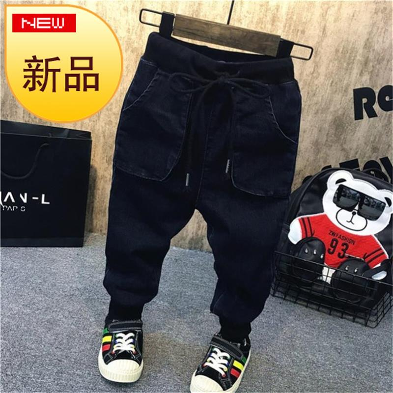 Fashion childrens pants simple boys and girls jeans n personality childrens autumn and winter corset pants small feet