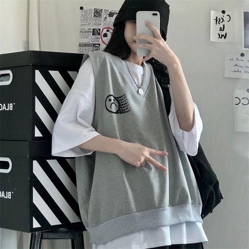 Songji 2021g new printed Korean version ins sleeveless vest vest vest wide summer short sleeve two shirt female student T-piece set