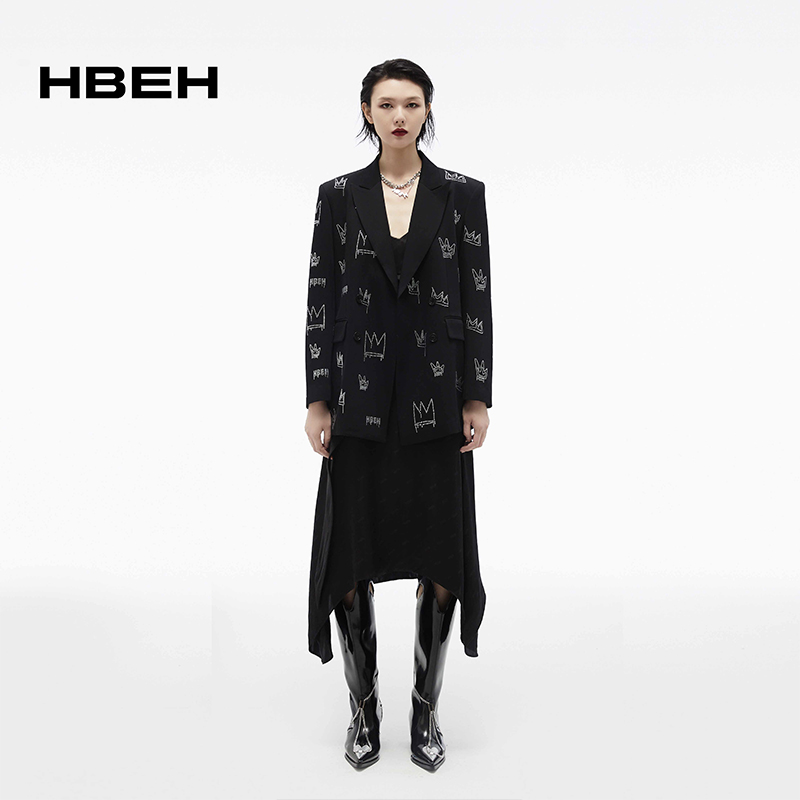 Hbeh huiwenlong 2021 spring and summer new hot drill printing loose silhouette suit