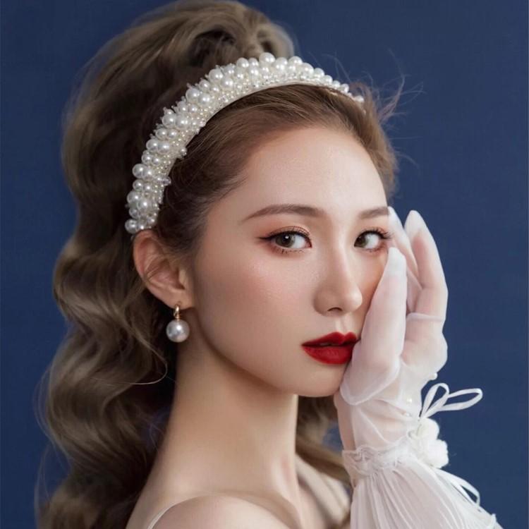 '新娘珍珠皇冠生日头饰仙气仙女森系白色婚纱2021年新款王冠女套