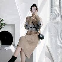 大码女装秋冬洋气打底拼色菱形毛衣裙上衣胖mm宽松显瘦针织连衣裙