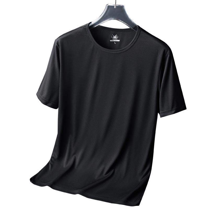 中年运动健身速干T恤男短袖夏季冰丝滑料弹力上衣男轻薄透气体恤