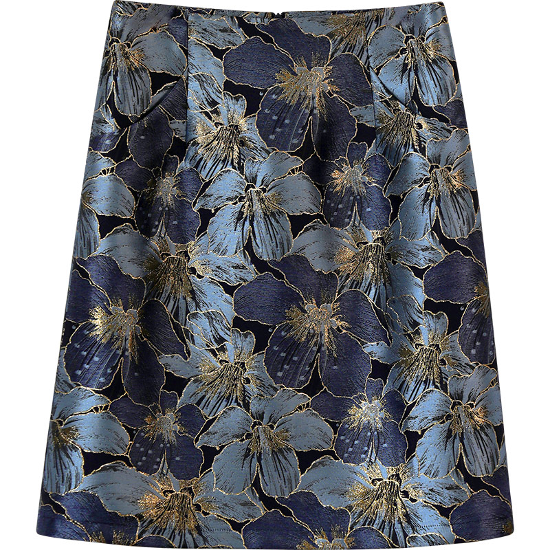 裙子2021年新款秋款半身裙小众绣C花高腰a字显瘦包臀及膝中长口袋