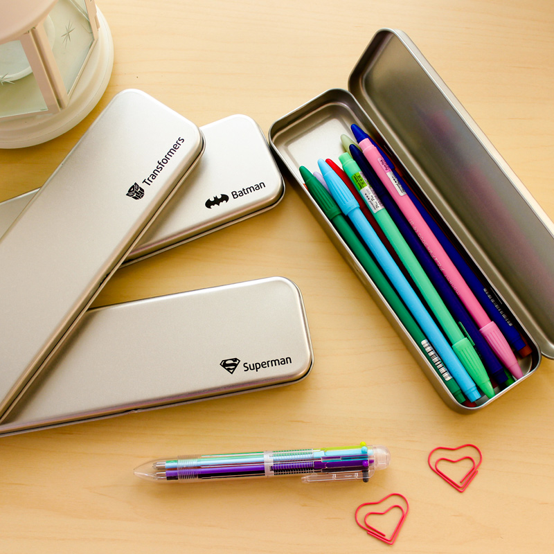 包邮纯色铁皮笔盒 简约男女学生多功能收纳盒 金属铁文具铅笔盒