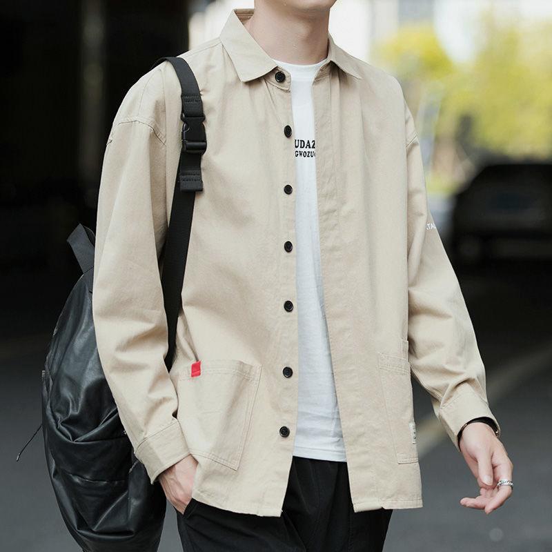 春秋款100%纯棉男士长袖衬衫休闲宽松版免烫港风商务衬衣男装外套