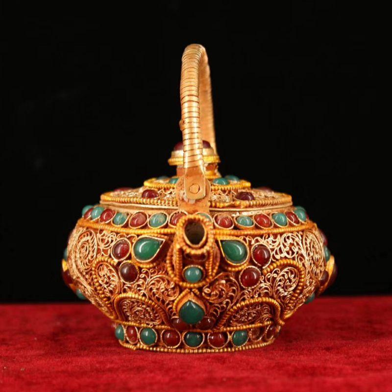 尼泊尔银小宝石镶嵌丝酥油掐收藏手工工艺纯壶装饰品茶壶藏老打造