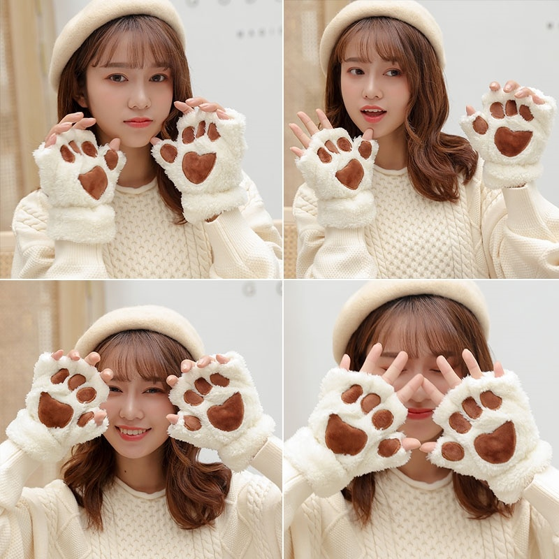 Animal cat claw sister gloves and lovely finger half autumn Plush female student finger soft claw version Korean only.