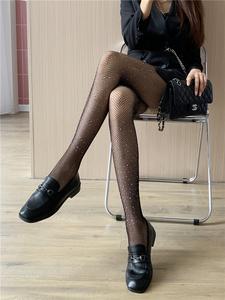 黑色渔网袜黑丝袜女ins潮带钻连裤袜子可爱日系JK蕾丝超薄款情趣