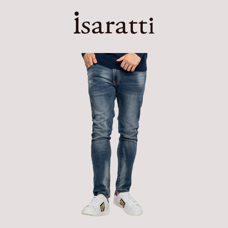 Isaratti flagship store brand pants pure cotton slim fashion casual jeans mens spring and autumn versatile