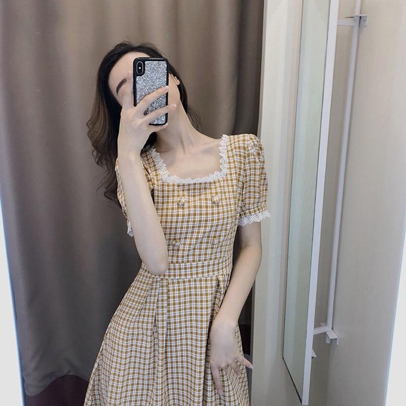 夏季新款复古方领格子连衣裙