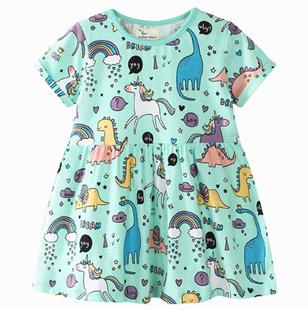 Мультики новый летний девочки наряд студент хеджирование хлопок круглый вырез свободный короткий рукав платье девочки случайный T футболки