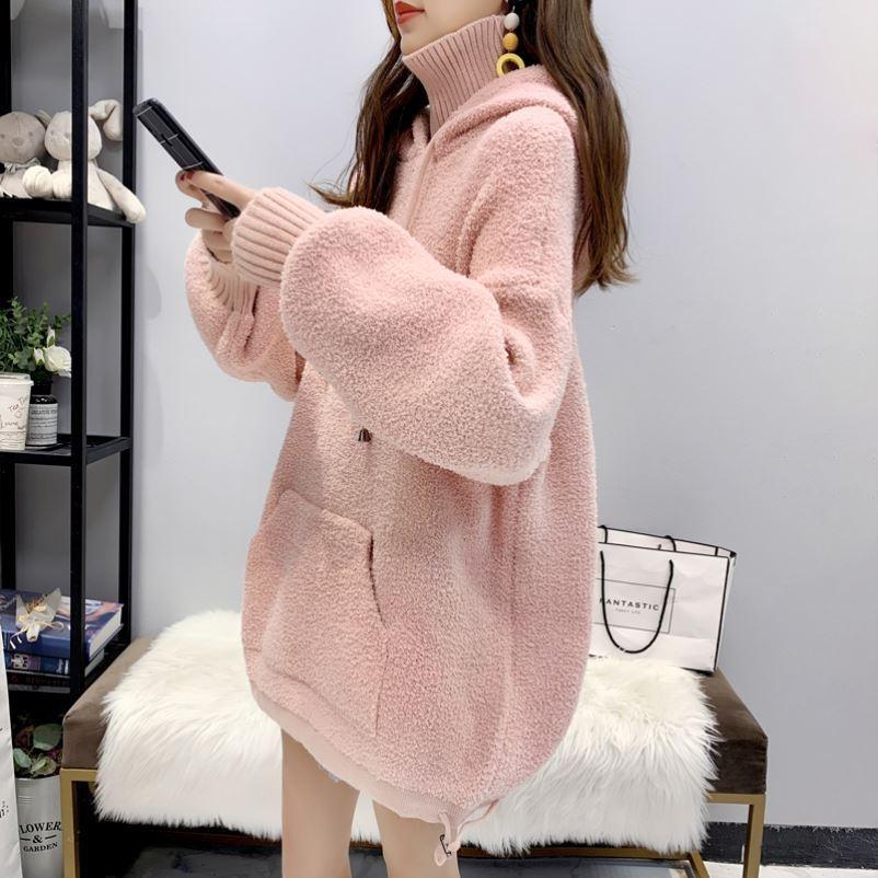 加厚连帽毛衣女高领宽松慵懒2021秋冬韩版外穿假两件针织衫外套