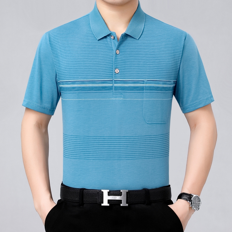 Summer new middle-aged mens short sleeve T-shirt cotton casual 40-50 year old fathers half sleeve T-shirt polo