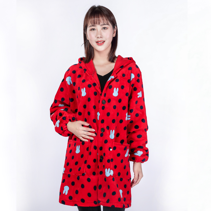 Plush Anti Dirt cashmere smock female long sleeve adult coat flannel suede home adult Hooded Winter Dress