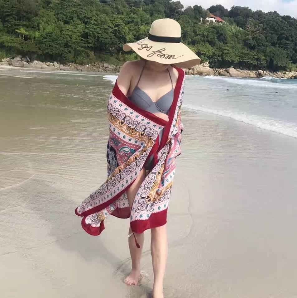 旅游度假海滩沙漠围巾女棉麻纱巾防晒披肩两用海边沙滩巾拍照丝巾