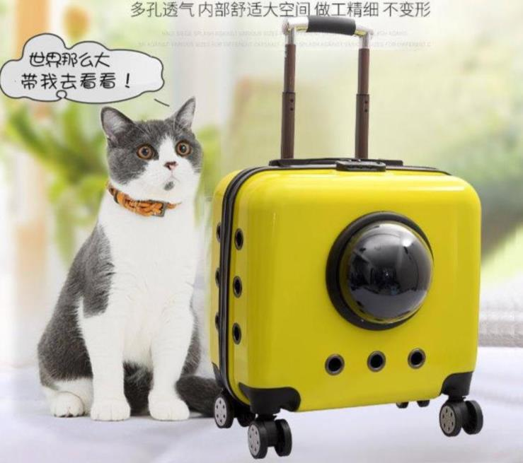 Packing pet trolley case double shoulder bag net red large capacity large medium size cat cage breathable foldable Dog Bag