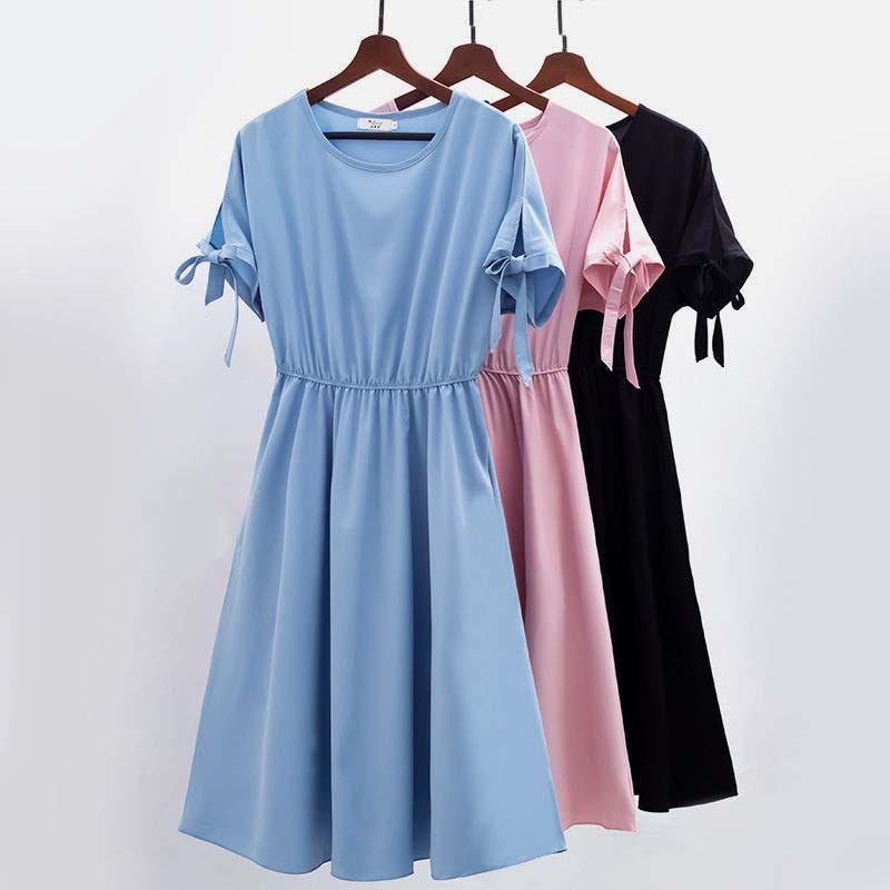 夏季2021雪纺连衣裙女新款蝴蝶袖韩版收腰中长款超仙显瘦遮肚裙潮