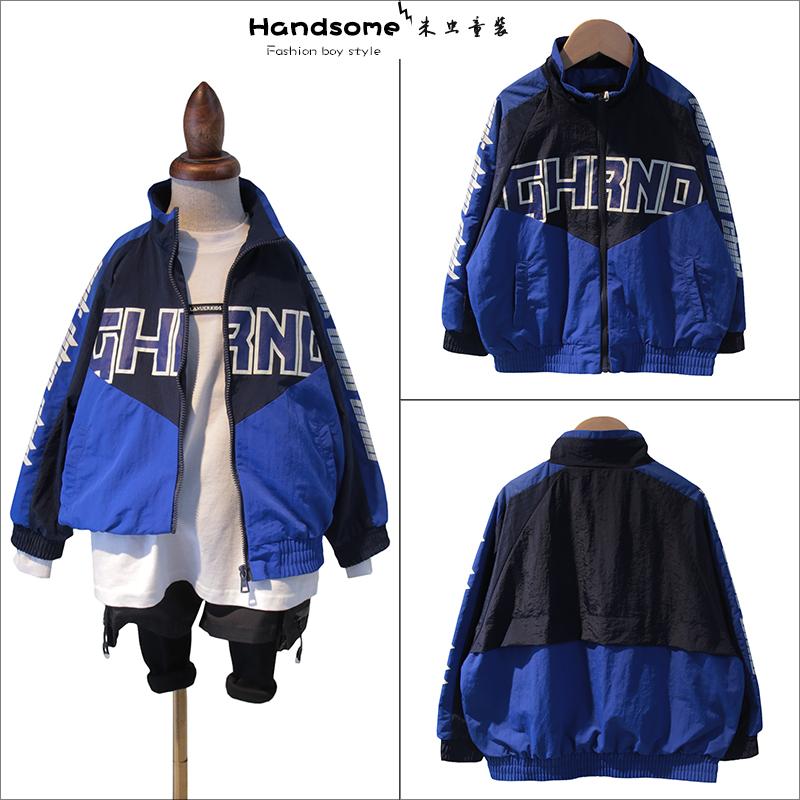Childrens wear childrens coat 2021 spring new boys Korean color blocking sports simple jacket 32937