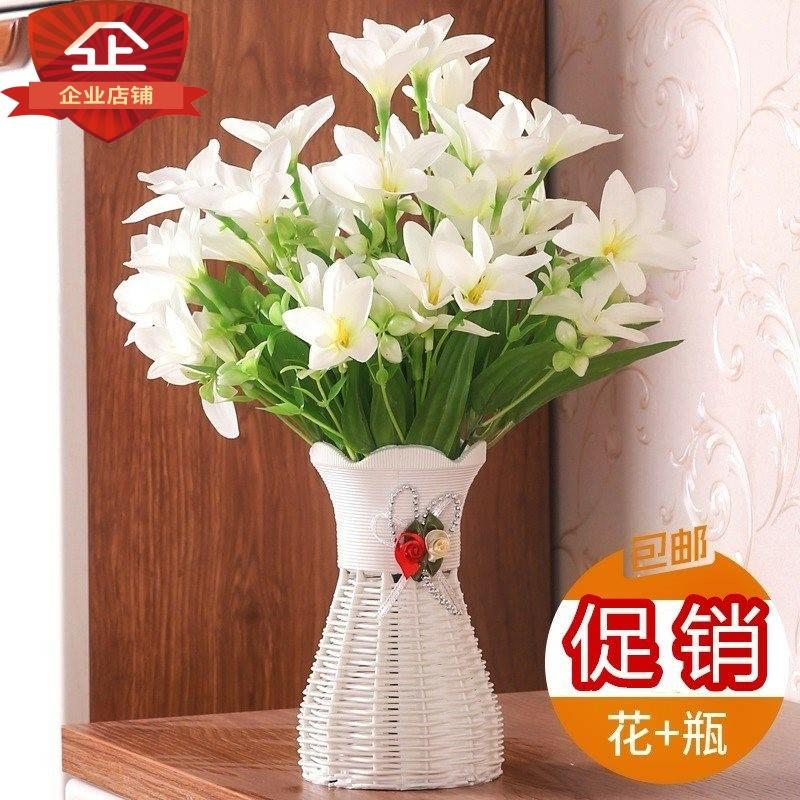 中國代購|中國批發-ibuy99|摆设|放餐桌上的植物假花小型装饰花粉色花束屋内饭厅花盆摆设桌子办