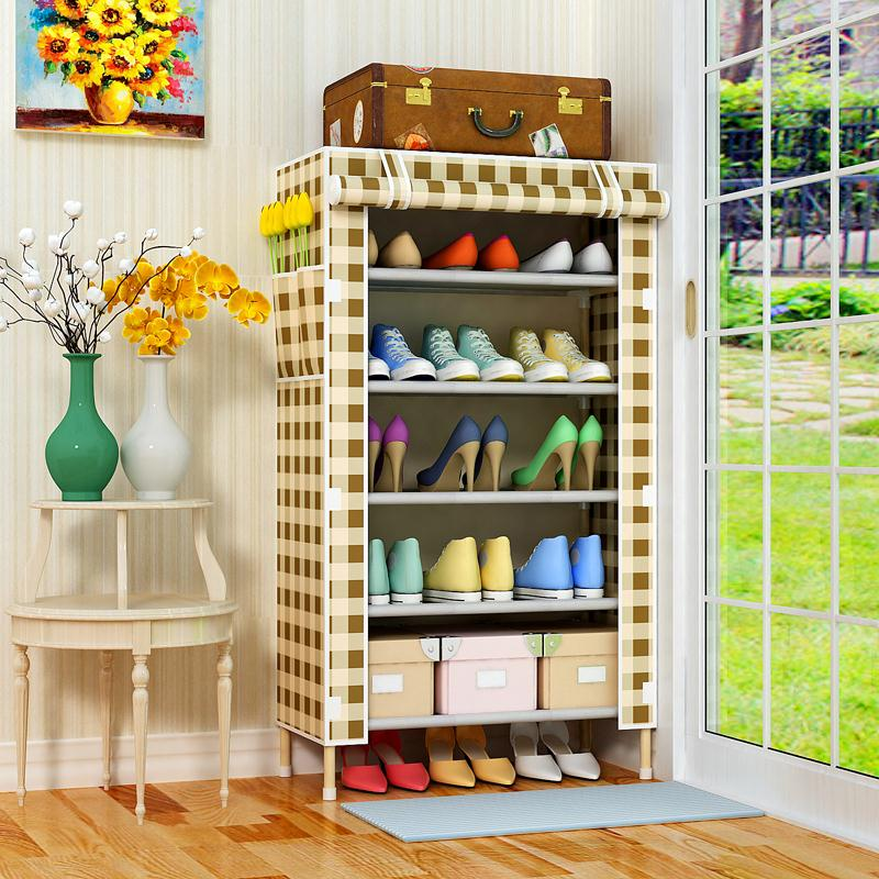 Shoe cabinet wooden frame with dust cover multi-layer shoe frame simple household super large capacity large cover Oxford canvas wood