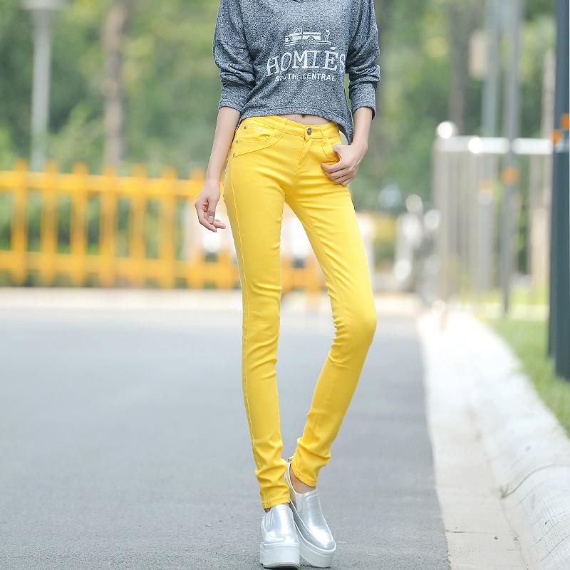 糖果色牛仔裤女弹力铅笔女裤修身显瘦休闲裤彩色小脚裤低腰长裤子