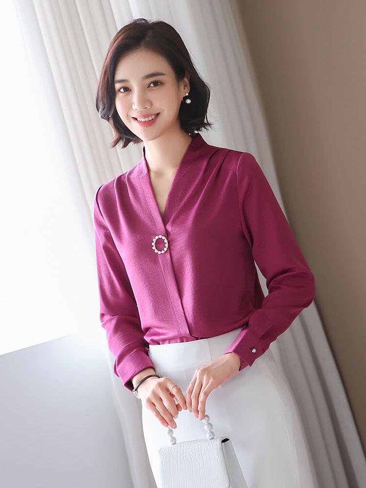 玫红色长袖2019新款秋冬季韩版衬衫