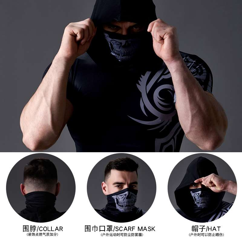 Bodysuit mens fitness sport hooded Bib short sleeve training suit high elasticity fast drying sun proof tattoo T-shirt