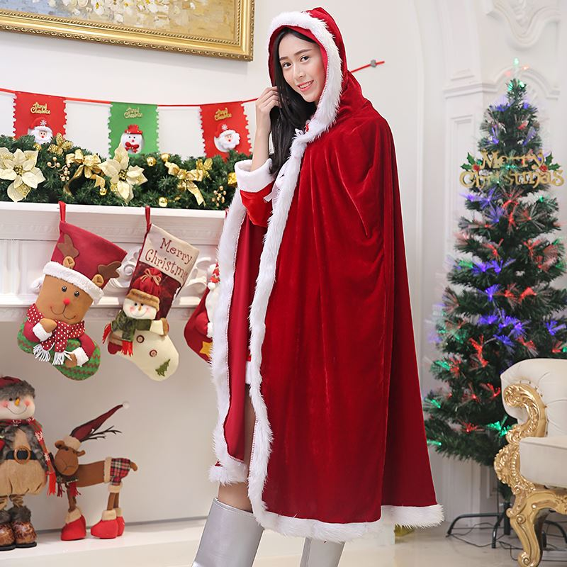 Christmas childrens Cape mens and womens parent child costume Bunny Girl Dress Ball lovely Santa Claus performance