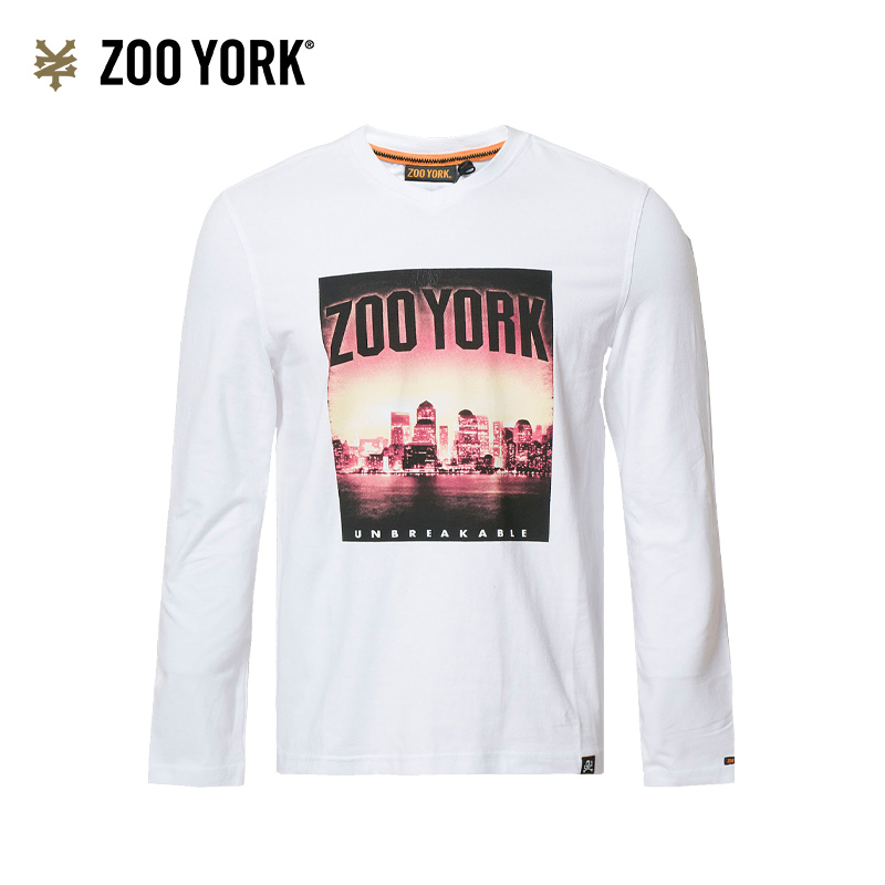Zooyork fashion brand young mens urban fashion trend printed small V-neck versatile long sleeve T-shirt fit top