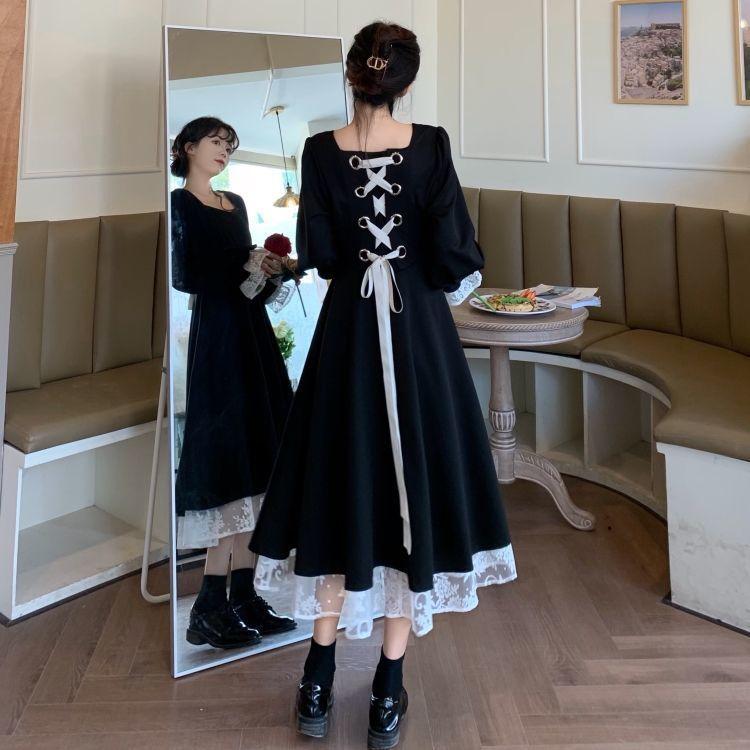 胖mm大码女装秋冬法式复古宫廷法式赫本风黑色连衣裙绑带蕾丝长裙